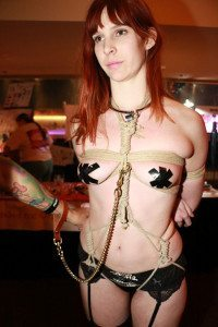 Girl in Bondage and Dog Leash at AVN Adult Entertainment Expo 2015