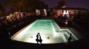One Love Temple pool at night